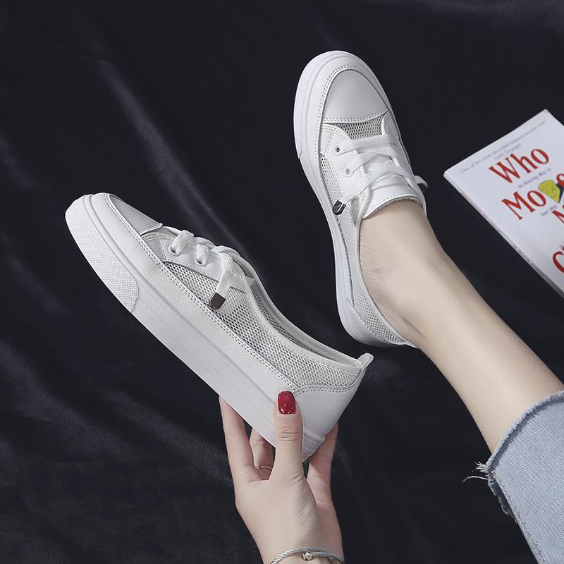 网红小白鞋女2020夏季款新款韩版潮百搭网面透气学生平底休闲板鞋图片
