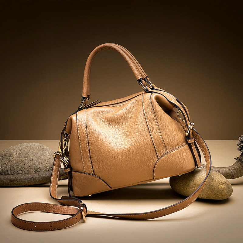 原创新款真皮女包 时尚头层牛皮手提斜挎包休闲软皮贝壳包潮1112