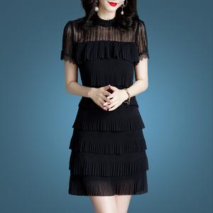 大码雪纺连衣裙女夏2020年夏季新款流行女装夏装蕾丝裙子夏天显瘦