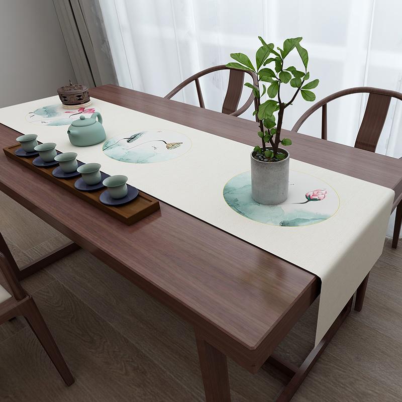 桌旗中式禅意新中式中国风茶几桌旗餐桌电视柜茶桌桌布棉麻床尾巾