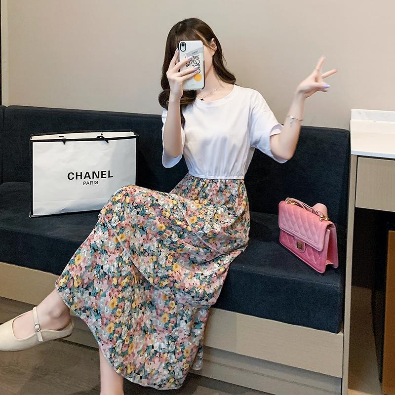 碎花连衣裙女夏2020新款蛋糕裙流行裙子韩版宽松假两件雪纺裙长裙