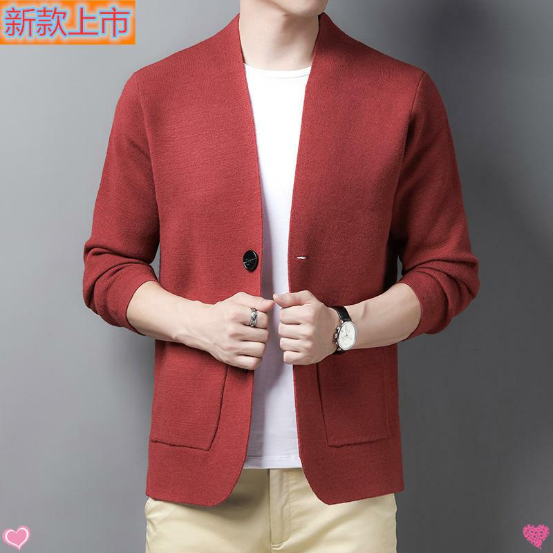 High grade authentic new autumn mens knitted cardigan young and middle-aged fashion Korean loose single breasted sweater leisure