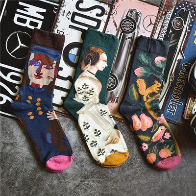 chiptease个性复古学院风日系创意彩色潮袜男女冬袜子中筒袜socks