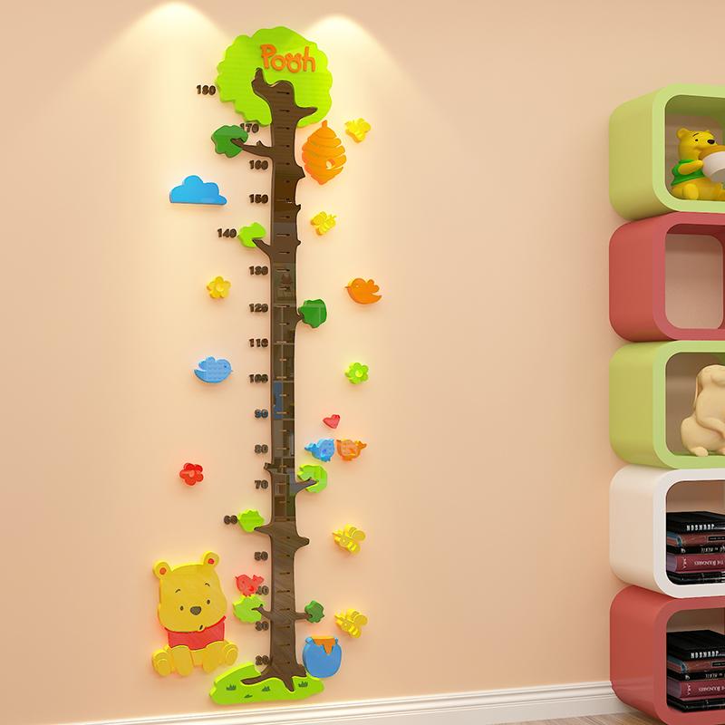 身高贴纸儿童房布置装饰宝宝量身高卡通墙贴亚克力3d立体墙面贴画