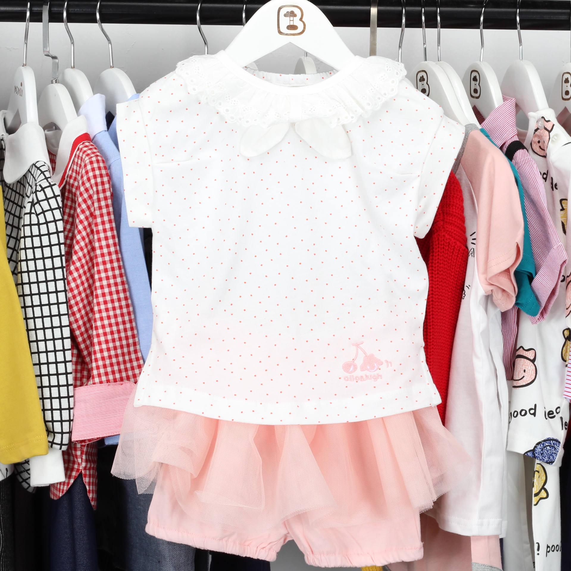 韩版童装夏款女童粉色圆点花边t恤(非品牌)