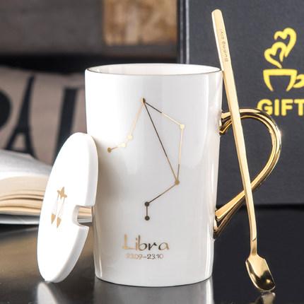 个性星座情侣咖啡杯创意陶瓷杯子马克杯带盖勺家用水杯大容量茶杯