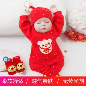 新生猪宝宝男百天满月婴儿连体衣服公主女红色春秋装秋冬喜庆百岁