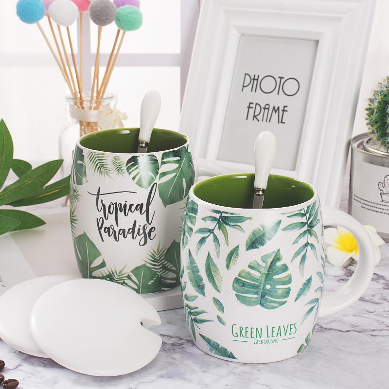 女杯子陶瓷办公室大容量家用水杯创意情侣简约咖啡杯马克杯带盖勺