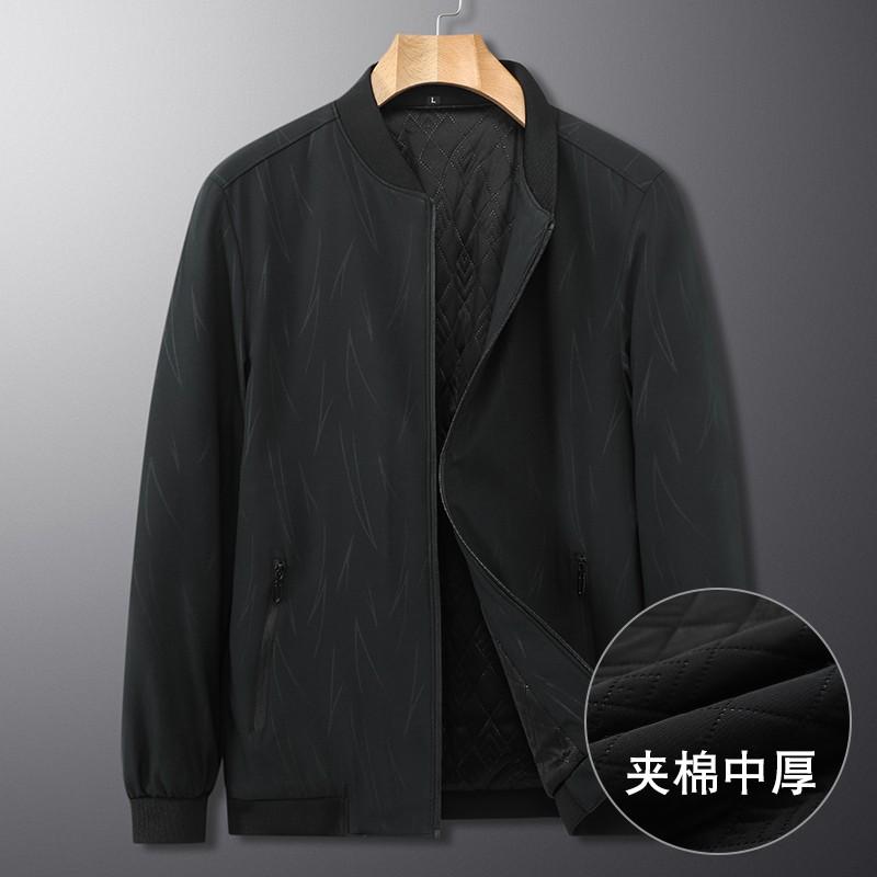 时尚名品牌中年秋冬夹棉中厚加大码男士夹克外套特大号肥佬厚款棒