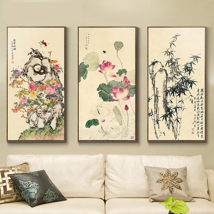 现代新中式荷花装饰画客厅挂画三联壁画花卉国画水墨画郑板桥竹子