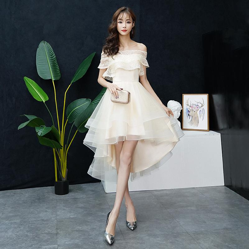 很仙的连衣裙小礼服仙女系小个子梦幻聚会晚会高贵气质甜美一字肩