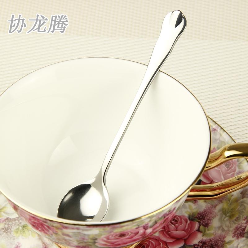 协龙腾不锈钢咖啡勺甜品勺小调羹奶茶勺果粉勺子套装