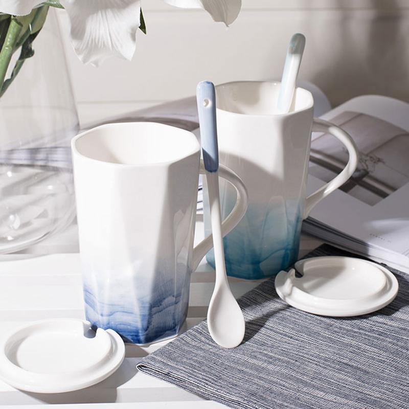 杯子创意个性潮流陶瓷马克杯带盖勺女男咖啡杯家用情侣水杯一对