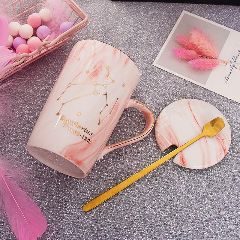 陶瓷女杯子情侣ins礼物创意星座马克杯带盖勺家用咖啡牛奶喝水杯