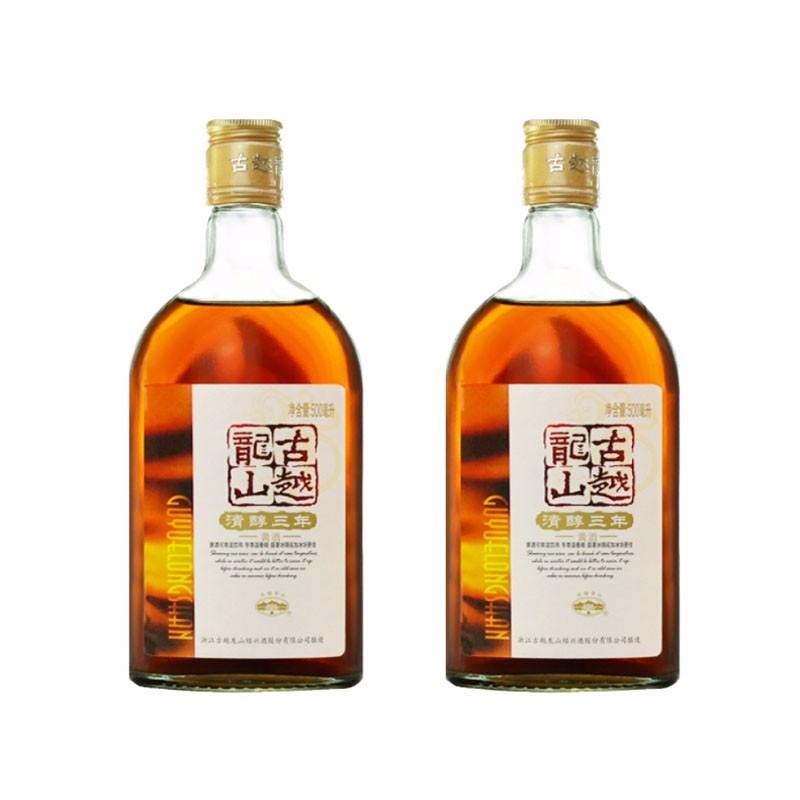 古越龙山绍兴黄酒清醇三年500ml*2瓶 花雕酒两瓶装糯米酒泡阿