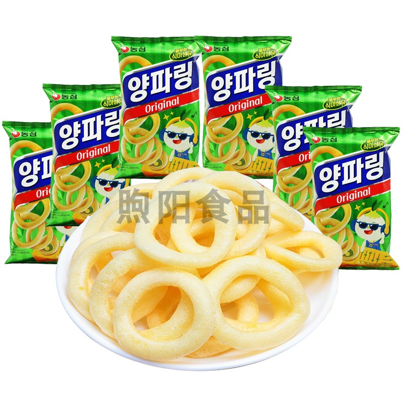 South Korea imported Nongxin onion ring original flavor 84g * 6 bags of leisure net red snacks office home snacks