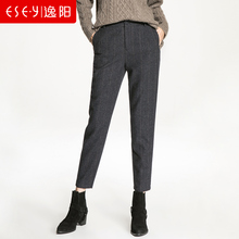 Yiyang 2018 autumn and winter new high waist woolen Harlan woolen pants women loose casual radish wool plaid pants winter