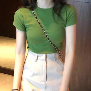牛油果綠t恤短袖女2020夏季新款純色修身體恤純棉抹茶綠緊身上衣