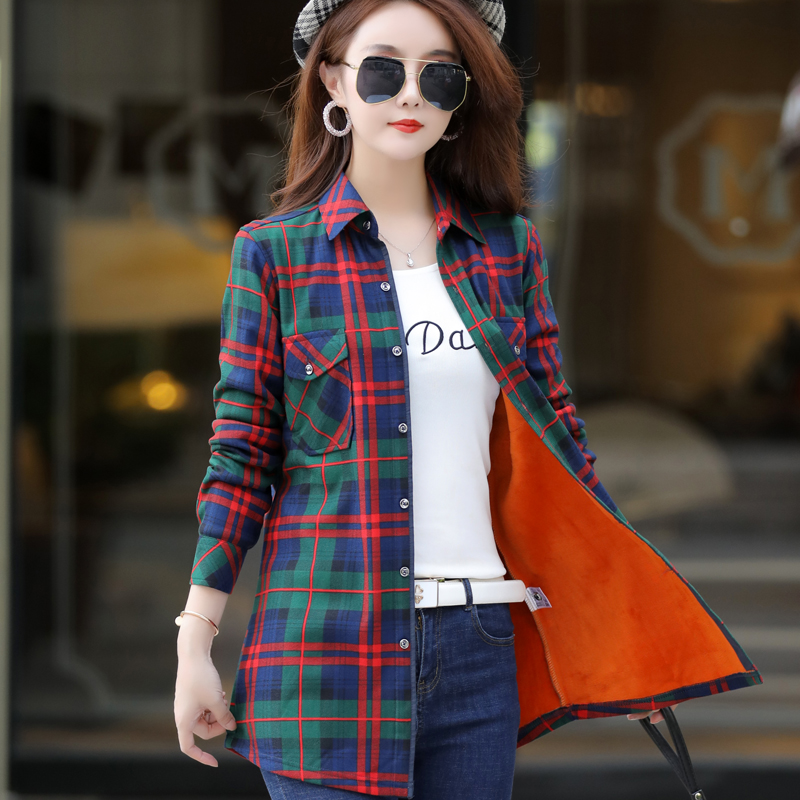 Cashmere Plaid Shirt womens long sleeve autumn / winter 2019 mid length top warm loose Korean oversized thickened shirt