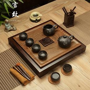 言致整块鸡翅木茶盘家用黑檀实木茶台排水茶海茶托盘紫砂茶具套装