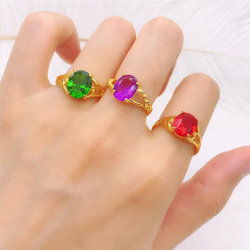 镀金戒指女 久不掉色 仿黄K金锆石宝石戒指结婚 沙金戒指开口