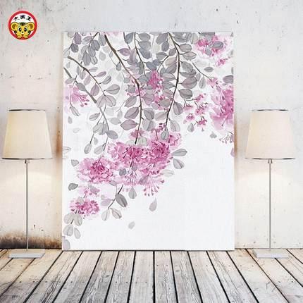 diy数字画水彩花卉客厅沙发三联装饰画实木有框填色挂画