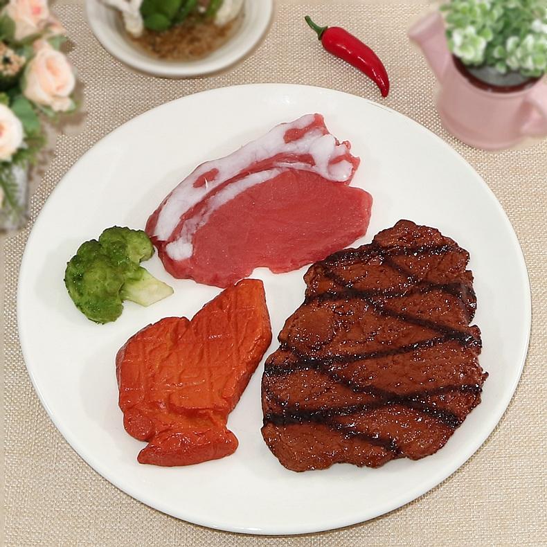 仿真食物模型牛排牛扒煎蛋羊排猪肉食品道具西餐酒店橱柜样板装饰