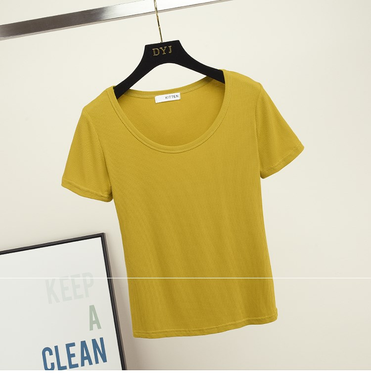 New basic solid color ice silk knitted top for womens spring and summer 2020