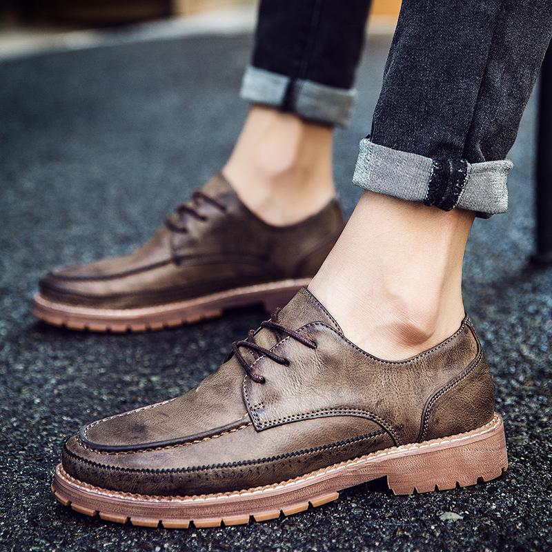 杭臣低帮休闲擦色皮鞋男生新款英伦风布洛克鞋时尚复古商务鞋潮流
