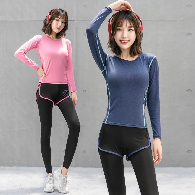 气质健身房瑜伽服跑步运动套装女网红冬装晨跑速干衣仙气秋季时尚图片