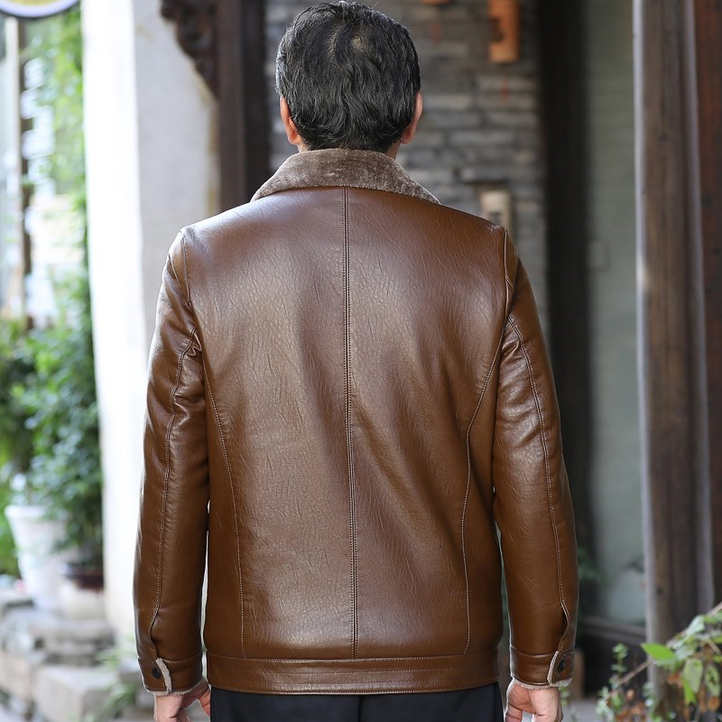Winter middle-aged mens leather coat, plush and thickened casual middle-aged and old peoples leather jacket, 40 years old, 50 dads winter coat