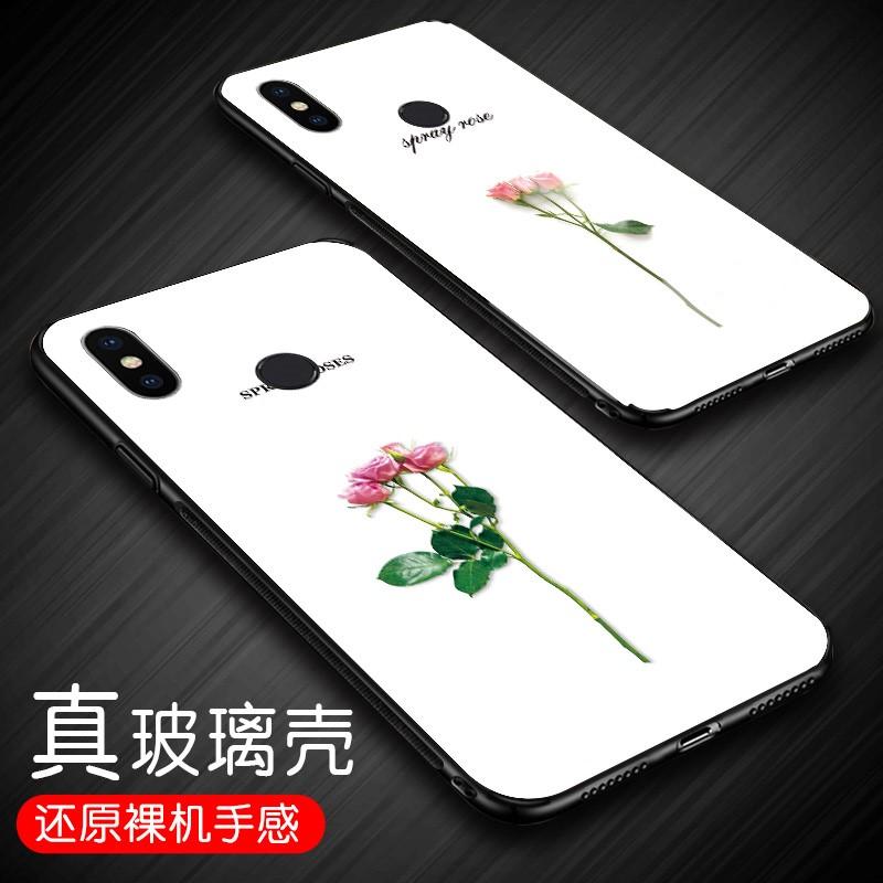 小米mi8手机壳防摔ml玻璃彩壳xiaomi创意玫瑰m1个性女款mi8指环绳