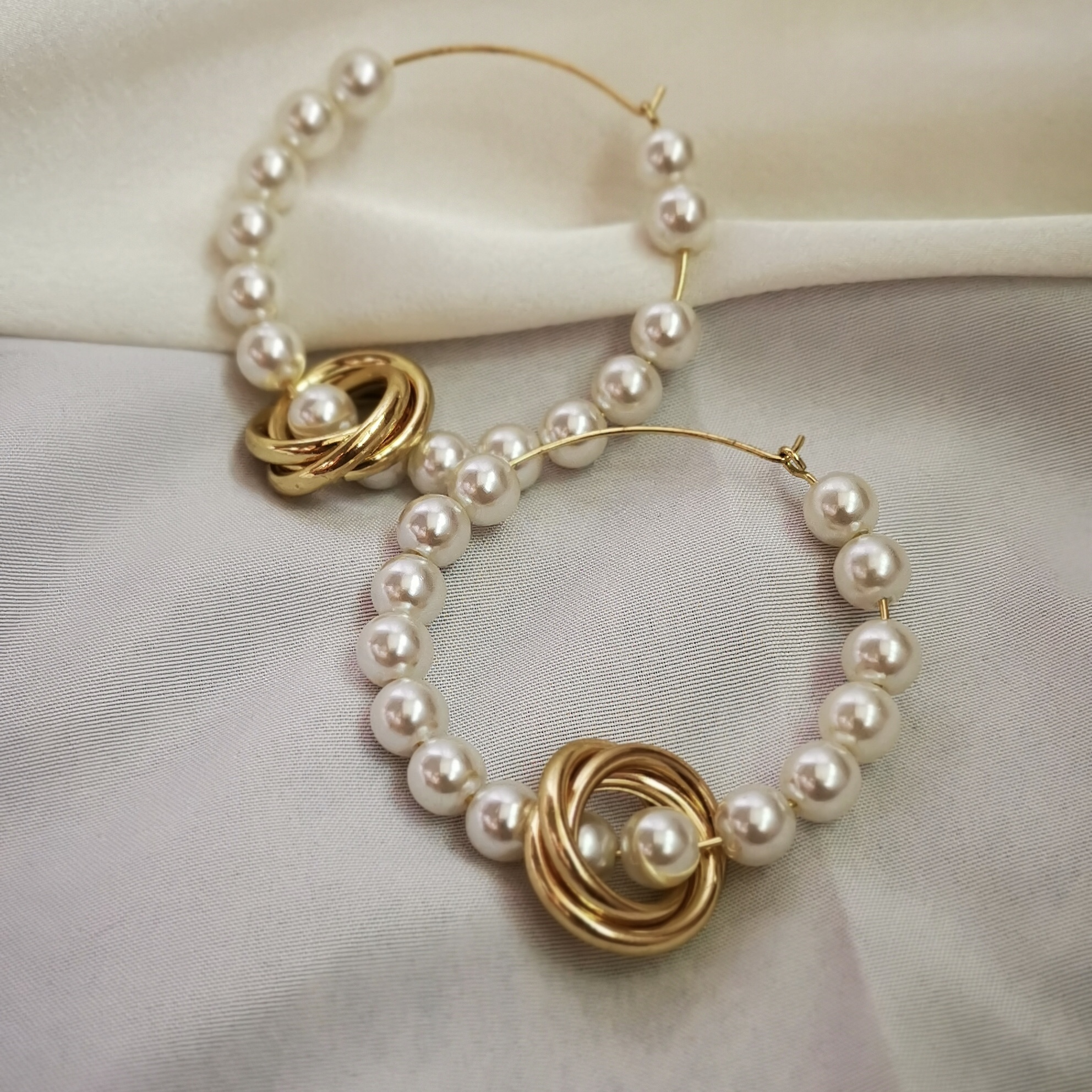 Mengya Si Gan Du series | imitation pearl European and American large earrings multi layer alloy Pendant Earrings summer