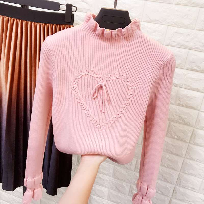 Womens autumn and winter new love pattern lotus leaf trumpet sleeve sweater