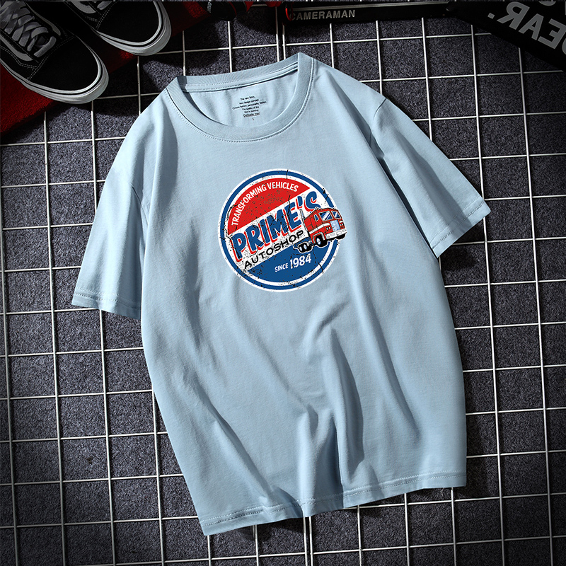 Summer 2020 New Style Mens short sleeve T-shirt loose cotton upper dress round neck mens half sleeve trendy printed T-shirt