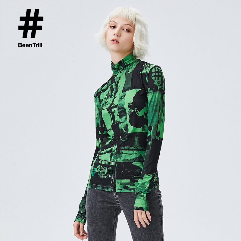 Beentrill fashion brand 2020 spring and summer new leisure long sleeve T-shirt European and American style printing large pattern high neck top