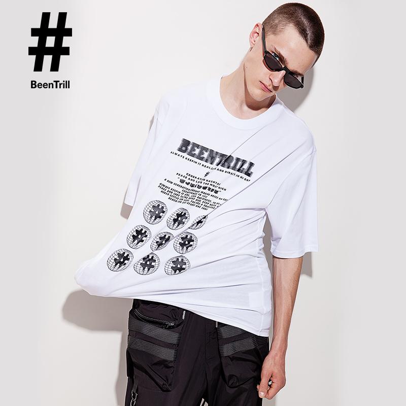 Beintrill2019 summer new creative pattern mens T-shirt leisure street photography trend personality versatile short sleeve