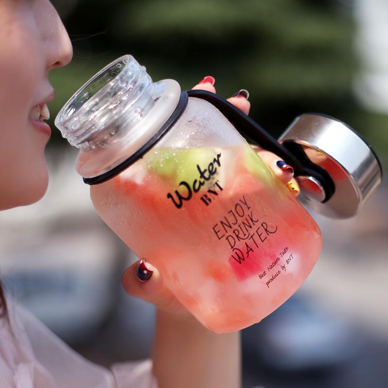 BNT玻璃杯大容量水杯1000ml户外便携简约随手杯网红时尚带盖茶杯图片