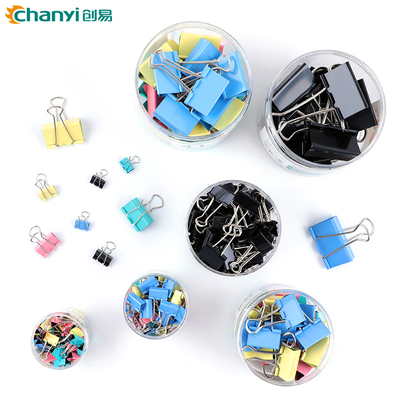 Chuangyi color long tail clip dovetail clip office student supplies metal book folder stationery large, medium and small financial bill Phoenix tail butterfly clip black wholesale
