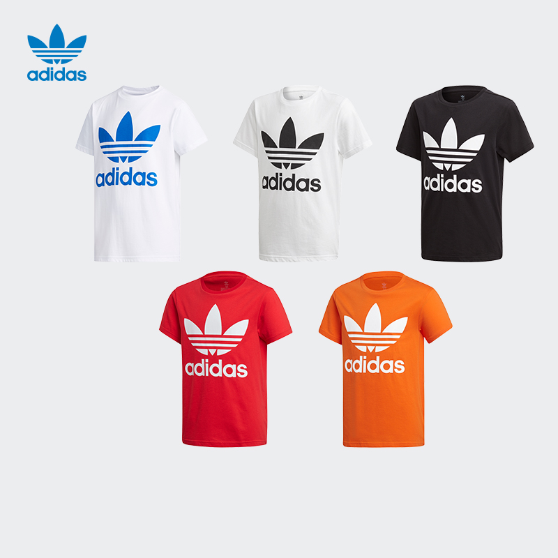 Adidas official website trefoil tee kids' summer sports short sleeve T-shirt ed7795