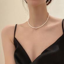 精致小粒天然珍珠项链锁骨链女轻奢小众设计感小金球珍珠颈链配饰