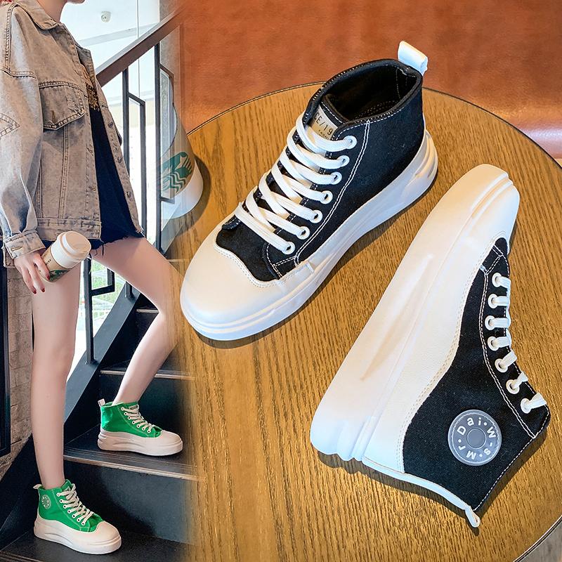 (用1元券)高帮鞋女鞋子帆布网红2019新款板鞋