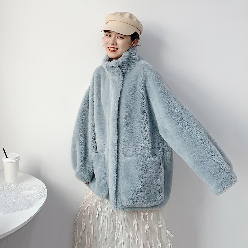 羊剪绒大衣时尚颗粒羊绒毛毛外套女海宁皮草2019秋冬新款皮毛一体