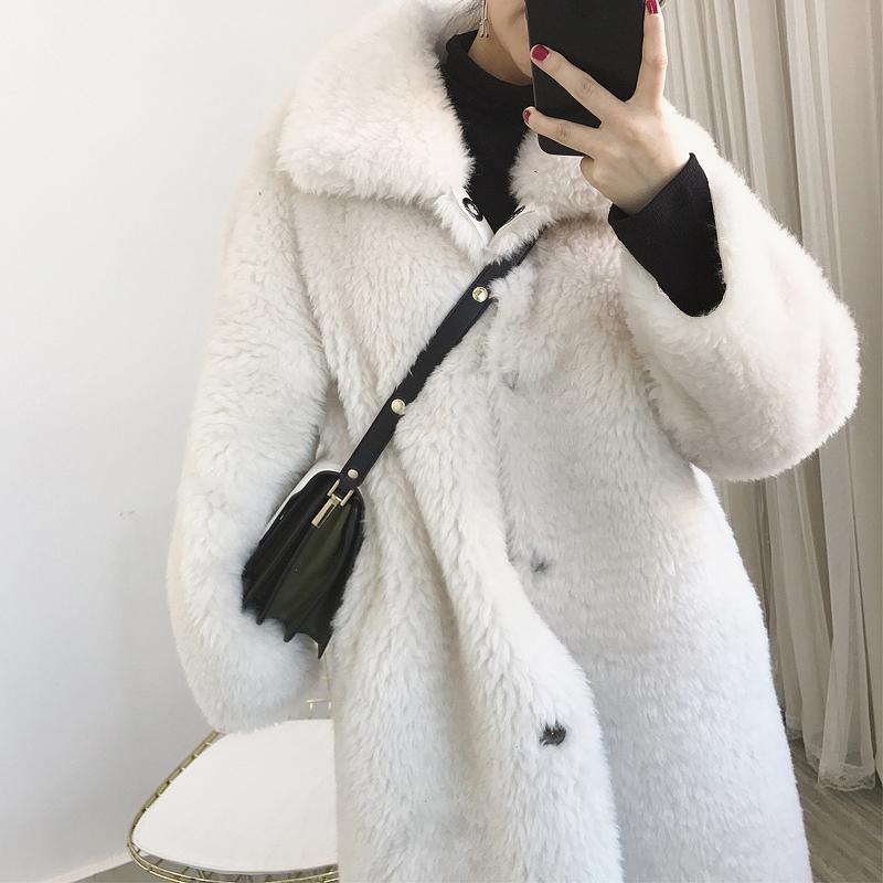 Real wool one-piece coat womens medium length 2019 new lambs wool sheep shearing coat womens fur fur fur silhouette winter