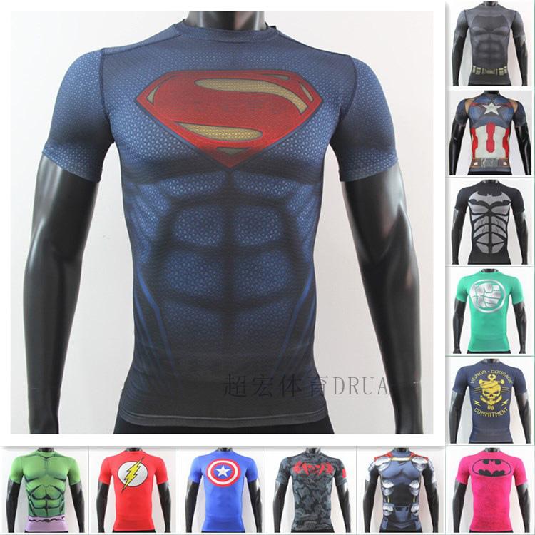 アンダーマ速乾汗超弾力半袖スーパーマン米隊長バットマングリーン巨人フィットネスTシャツ