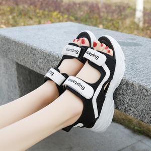 2021新款夏季网红休闲运动沙滩凉鞋百搭夏天学生松糕厚底女鞋子潮