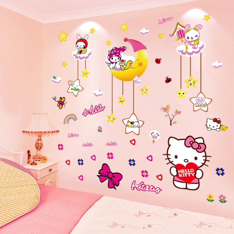 公主儿童房间墙面装饰卡通贴纸墙纸