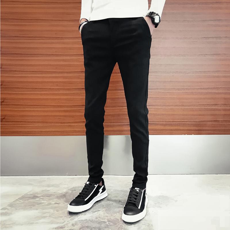 秋季男休闲长裤韩版修身潮流小脚裤修身发型师裤子紧身裤X23-P60