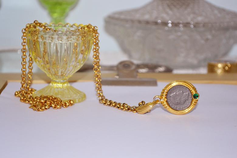 艺伎的胭脂 vintage Nolan Miller 硬币 时髦 旧时代 金色 项链