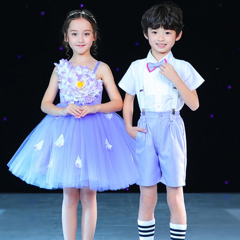 圣诞节儿童合唱服演出服装幼儿园蓬蓬纱裙表演服男女童主持人礼服